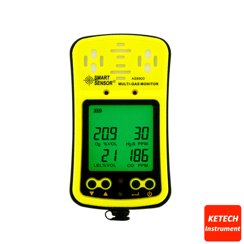 Handheld Gas Detector Oxygen O2 Hydrothion H2S Carbon Monoxide CO Combustible Gas Analyzer 4 in 1 AS8900