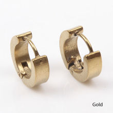 Men's Stainless Colored Steel Round Earring Ear Stud Set