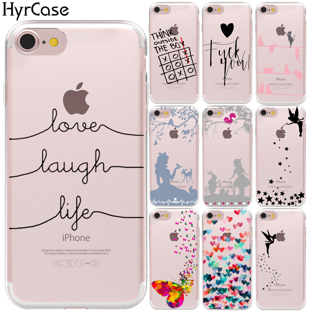Butterfly Tinker Bell Love Laugh Life Soft TPU Phone Back Case Cover For Apple iPhone 8 7 6 6S Plus 5S 5 SE X Shell Capa Coque