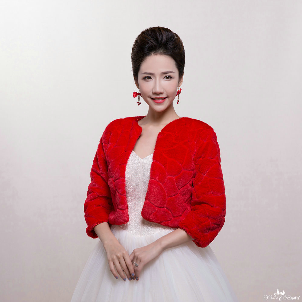 Bolero Rouge Mariage en ce qui concerne ta075 rouge chaud d'hiver en fausse fourrure femmes veste pour le