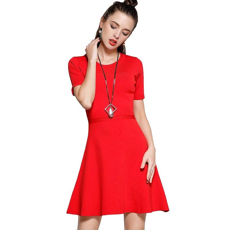 Autumn Winter Knitted Dress Women Short Sleeve A Line Mini Jacquard Red Sweater Dress Vintage Warm Dress Vestidos De Invierno