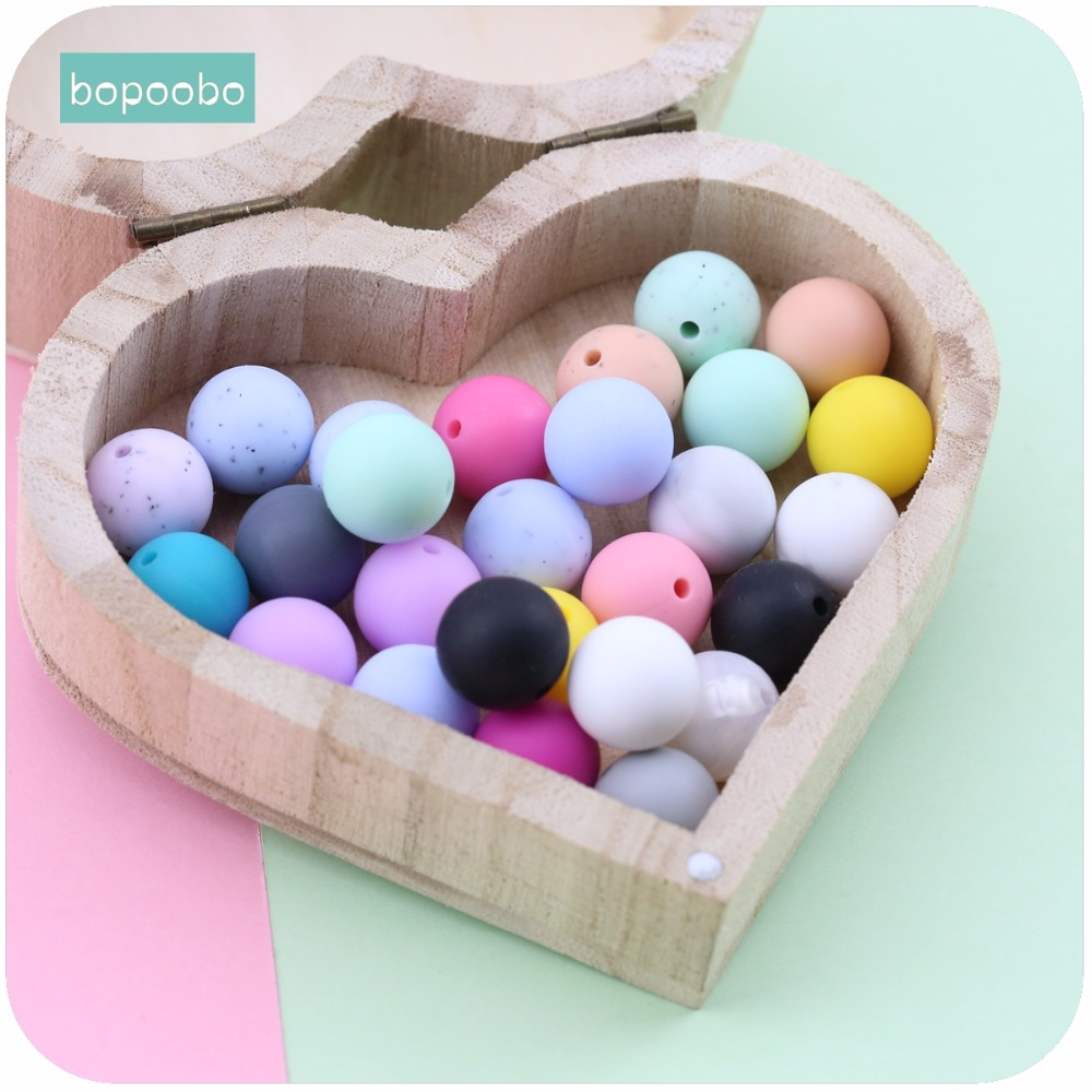 Bopoobo Baby Care Accessories 20mm 10pc Chewing Silicone Beads Teether DIY Jewelry Sensory Toys Nursing Bracelet Baby Teether