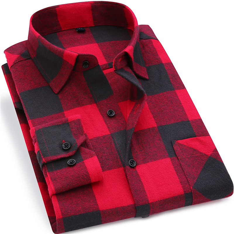 Menn Flannel Plaid Shirt 100% Cotton 2019 Vår Høst Casual Langermet skjorte Soft Comfort Slim Fit Stiler Brand Man Clothes