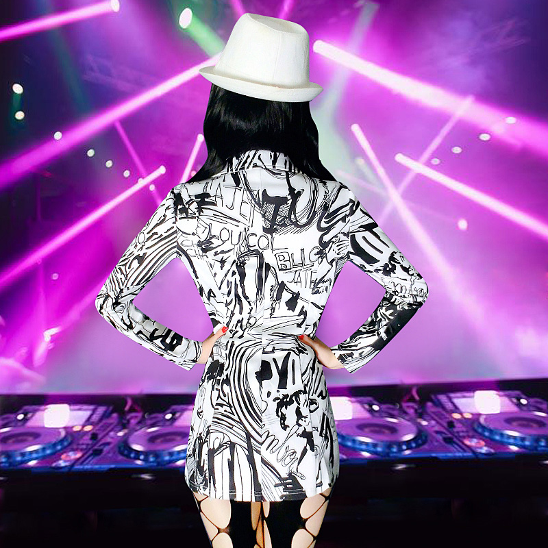 New bar ds performance costume sexy nightclub female singer jazz dance collar suit black and white suit