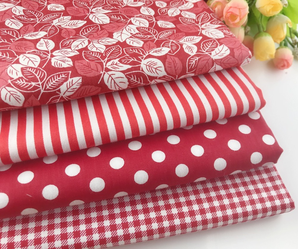 Delicate 50cmx50cm Red Fat Quarter Bundle 100 cotton Fabric Quilting fabric Home Textile Bedding Sewing Doll Cloth DIY in Fabric from Home Garden
