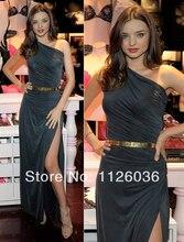 Dunklen Gery Miranda Kerr Seite Schlitzte Kleid Schulter Mantel Falten Gold Gürtel Celebrity Dress Formales Abendkleid Nach Maß