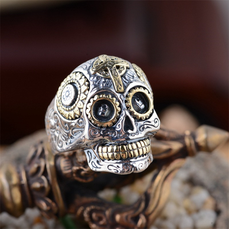 BESTLYBUY 100% Real 925 Sterling Silver Vintage Rings for Women Men Lovers Punk Fashion Cool Jewelry Skull Ring Bijoux bestlybuy vintage ring 100% real 925 sterling silver classic cross natural stone adjustable joint ring women men jewelry