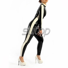 natural latex cat-suit rubber latex handmade zentai suit with back zipped