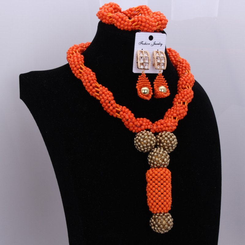 Classic Africa Dubai Wedding Beads Jewelry Set Orange Christmas Gifts Jewelry Necklaces Earrings Bracelets Balls Jewelery 2017
