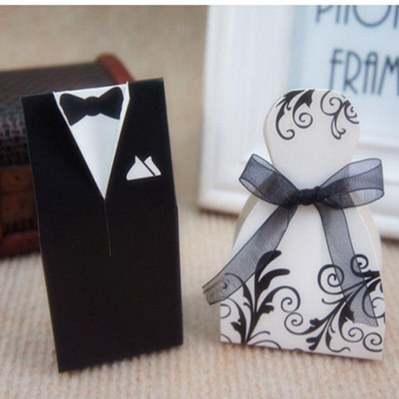 50pcs DIY Folding Wedding decoration candy box Groom Tuxedo Dress ...