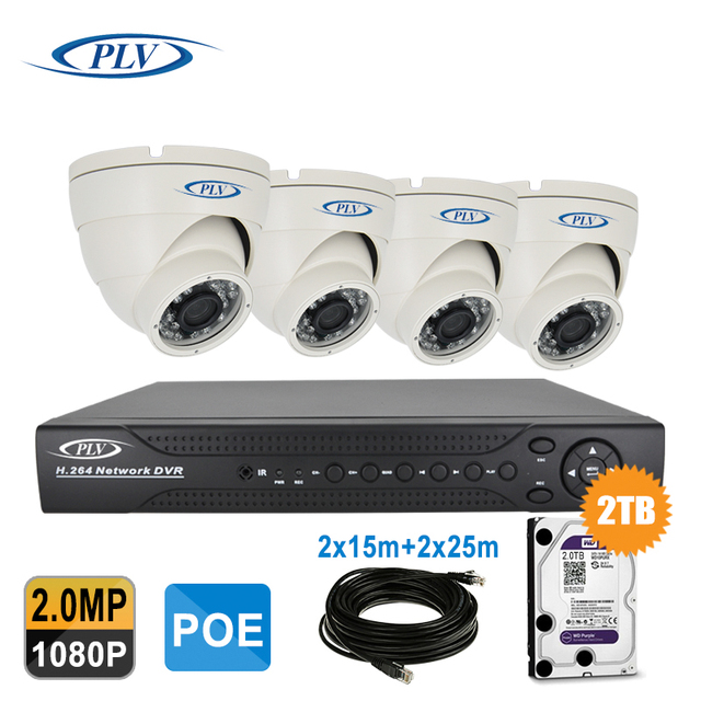 Home Surveillance System 4CH 1080P Waterproof POE NVR Kit 1080P ...