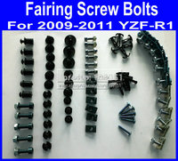 NEW! Motorcycle Fairing common screw bolts kit for YAMAHA YZFR1 2009 2010 2011 YZF R1 09 11aftermarket black fairings bolt screw