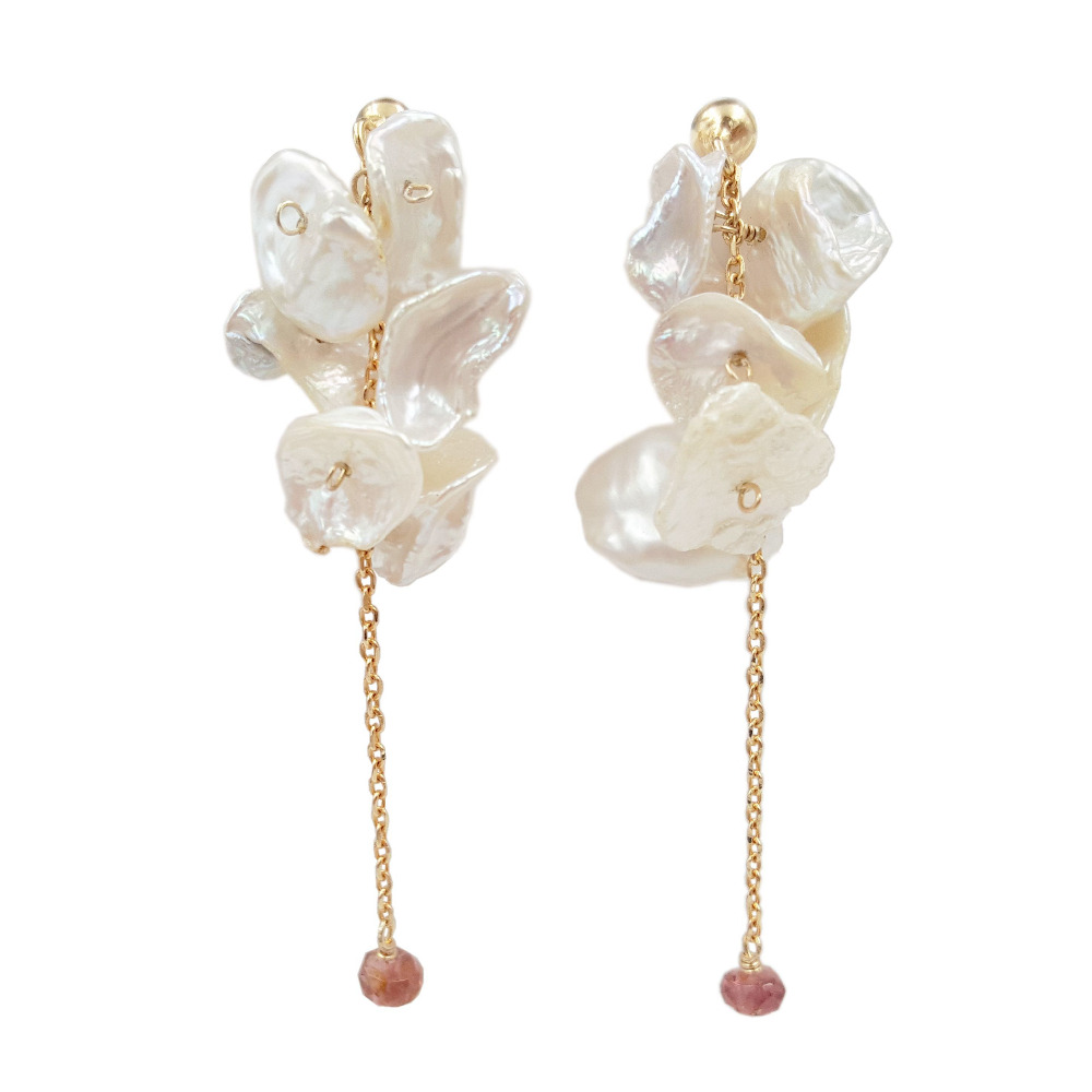 Hydrangea Series Keshi Pearl Tourmalines 925 Sterling Silver Stud Earring(china  (mainland))