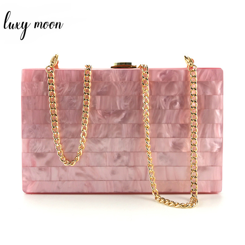 Acrylic Clutch Bag For Women Evening Bag Day Clutches Wedding Purse Hard Case Party Metal Chain Handbags Female Bag ZD1115