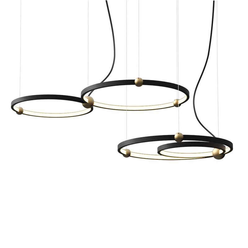 Nordic Dining room Pendant lights Modern simple Metal Round Ring Combo Art Creative Black Droplight Led Lighting fixture