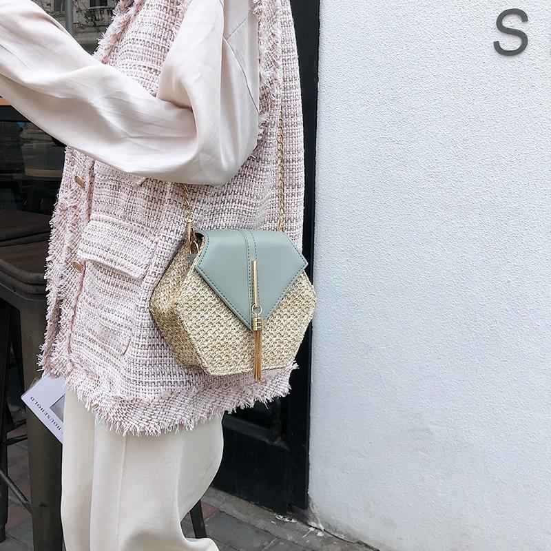 Hexagon Mulit Style Straw+leather Handbag Women Summer Rattan Bag Handmade Woven Beach Circle Bohemia Shoulder Bag New Fashion 13