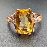 Citrine ring Free shipping Real natural citrine 925 sterling silver Fine yellow gem 8*12mm