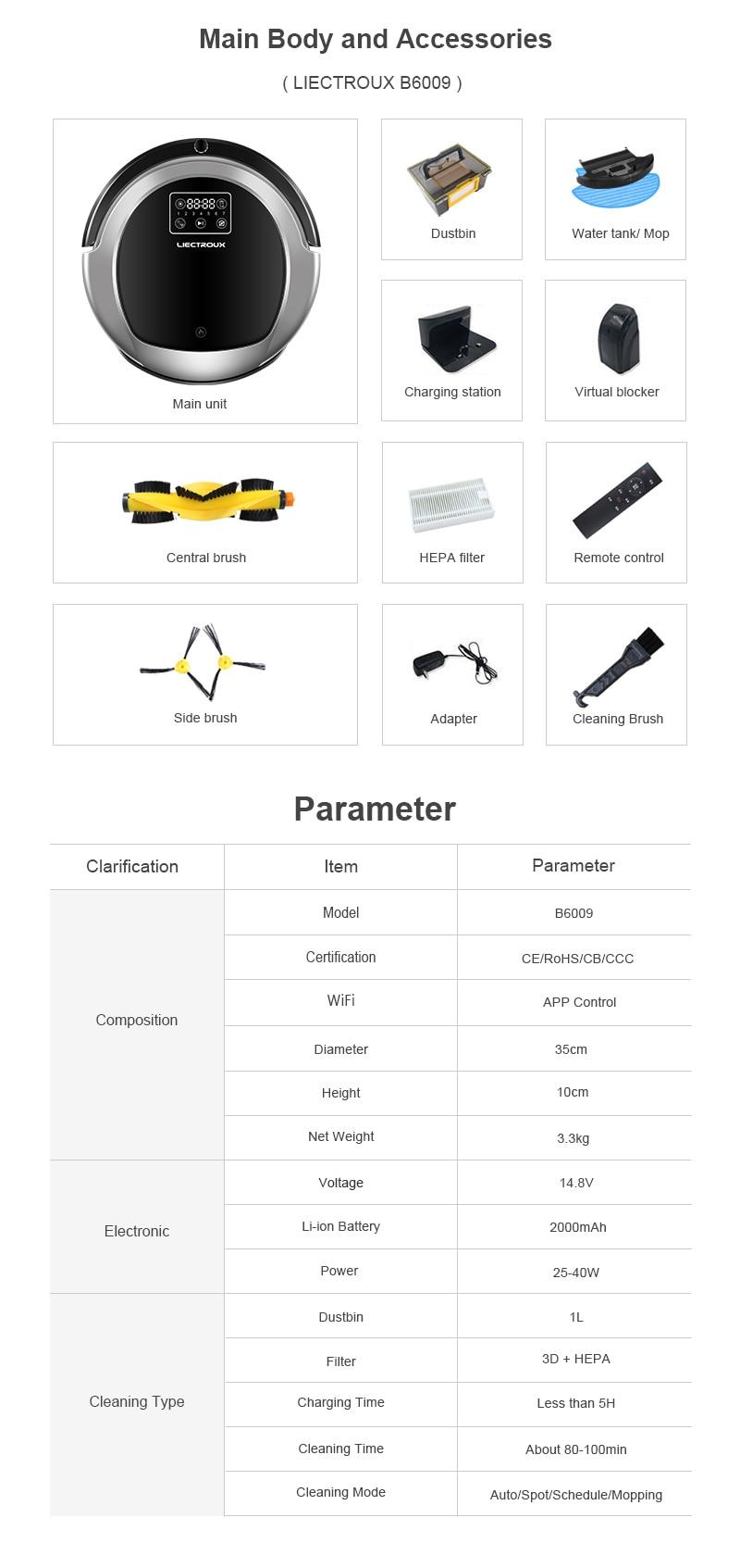 HTB1uH7BPCzqK1RjSZFHq6z3CpXa0 (FBA)LIECTROUX Robot Vacuum Cleaner B6009,Map Navigation,Smart Memory,Suction 3000pa,Dual UV Lamp,Wet Dry Mop,Wifi App aspirador