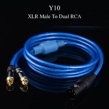 WinAqum Profissional Banhado A Ouro XLR Masculino Feminino Para Dual RCA Adaptador de Áudio Plugue do Cabo Coaxial de Vídeo Fio Y10 Y12