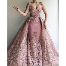 b7f31d76b Rosa vestidos de noche falda desmontable sin mangas espaguetis vestido de  velada longue fiesta Floral vestido de noche vestido d.