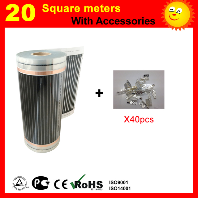 20 Square meter floor Heating film with 40 pieces of connecting clips , AC220V far infrared heater for living room heating