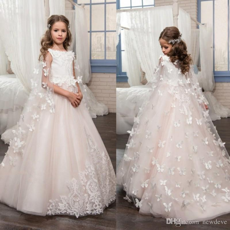 Beach Bead   Girls   Pageant   Dresses   Lace Appliques Kids Wedding Gowns A Line   Flower     Girls     Dress   With 3d Floral