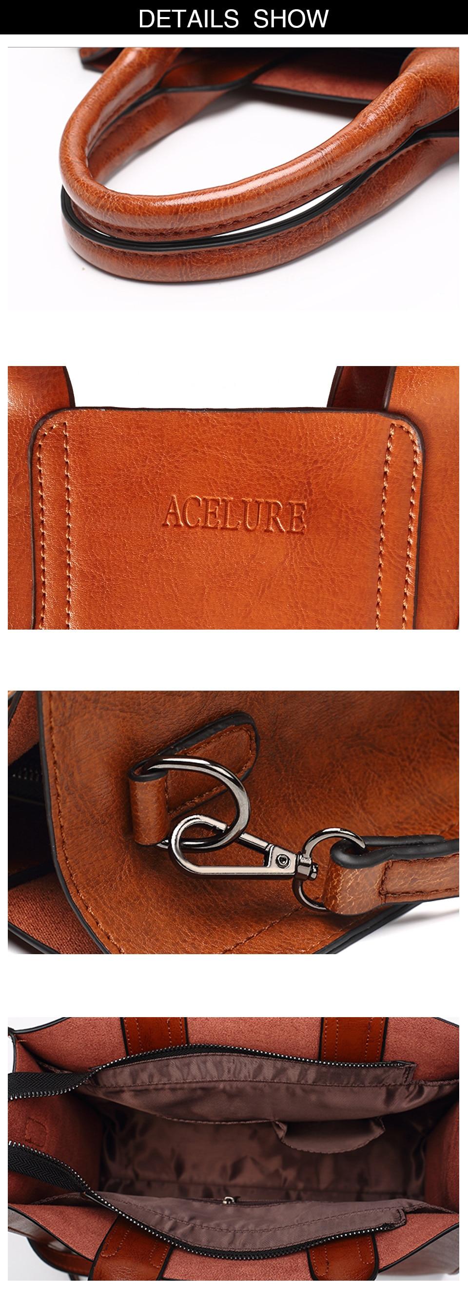 ACELURE Leather Handbags Big Women Bag High Quality Casual Female ... 90f2fd0a9abe0