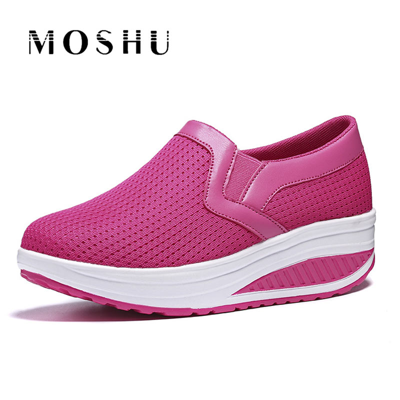 Summer Women Sneakers Air Mesh Casual Shoes Slip On Breathable Shoes Female Plus Size 35-43 Basket Femme instantarts casual women summer flat shoes cute dog alaskan malamute flower print female air mesh shoes fashion slip on sneakers