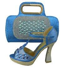 1308-31 Sky blue für Italienische Schuhe Mit Passender Tasche qualität Für party hochzeit Italien Schuhe Und Tasche Für Afrikanische dame