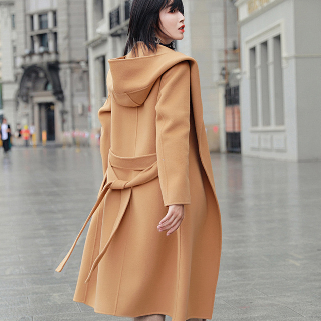 2018 autumn and winter pure wool coat It Moman Casual Hooded Cashmere Jacket handmade double-sided