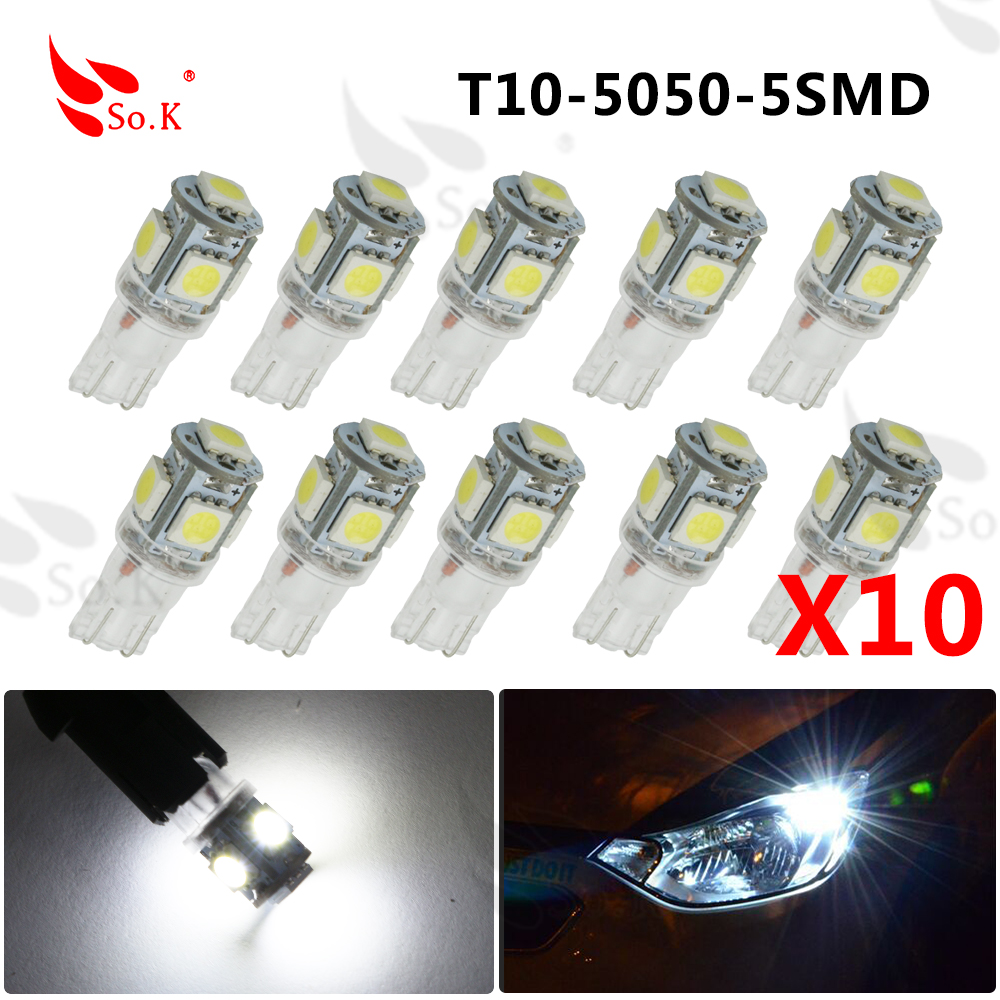 10X 12v W5W T10 5 5050 SMD Car led light Side Wedge Bulb White 194 927 161 168 Auto Interior Packing Car Styling 2014 new