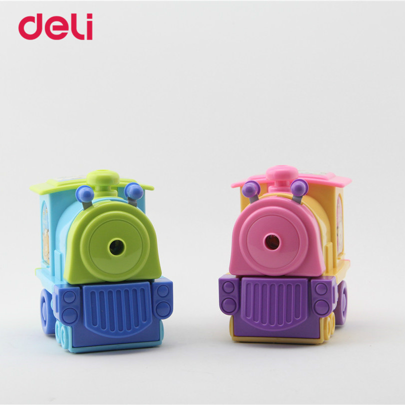 Deli Stationery Pencil sharpener Cartoon Train school supplies mechanical pencil sharpener office accessories manual sharpener mitsubishi uni m5 2005 oak wood body 0 5mm high quality mechanical pencil stationery office accessories school supplies