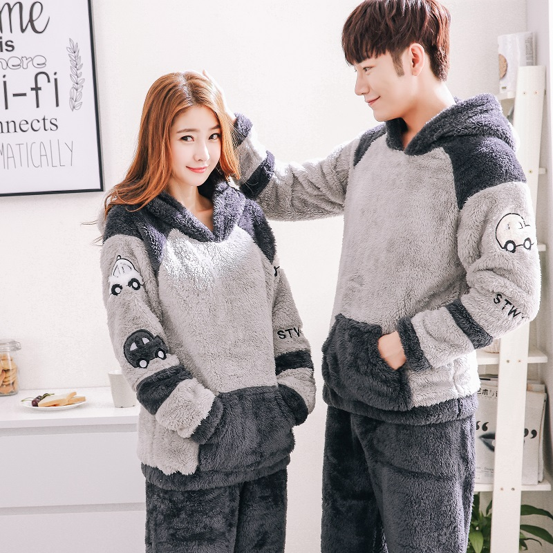 2018 Men's Thicken Warm Pajama Sets Couples Winter Soft Flannel Pijama Cars Printing Long Sleep Lounge Coral Velvet Women Pyjama