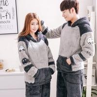 2018 Men's Thicken Warm Pajama Sets Couples Winter Soft Flannel Pijama Cars Printing Long Sleep Lounge Coral Velvet Women Pyjama