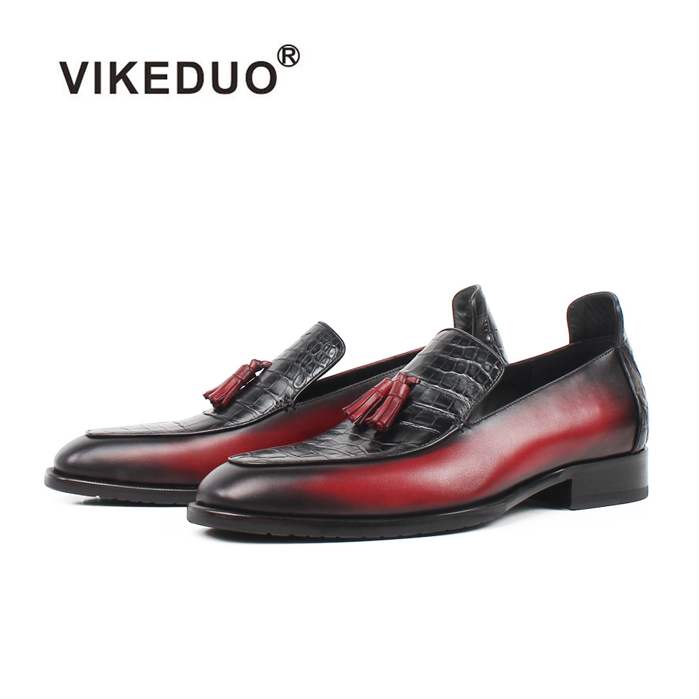 VIKEDUO Summer Loafers Shoes Men Red Genuine Crocodile Leather Sapatos Tassel Handmade Zapatos Hombre Plus Size Footwear Male
