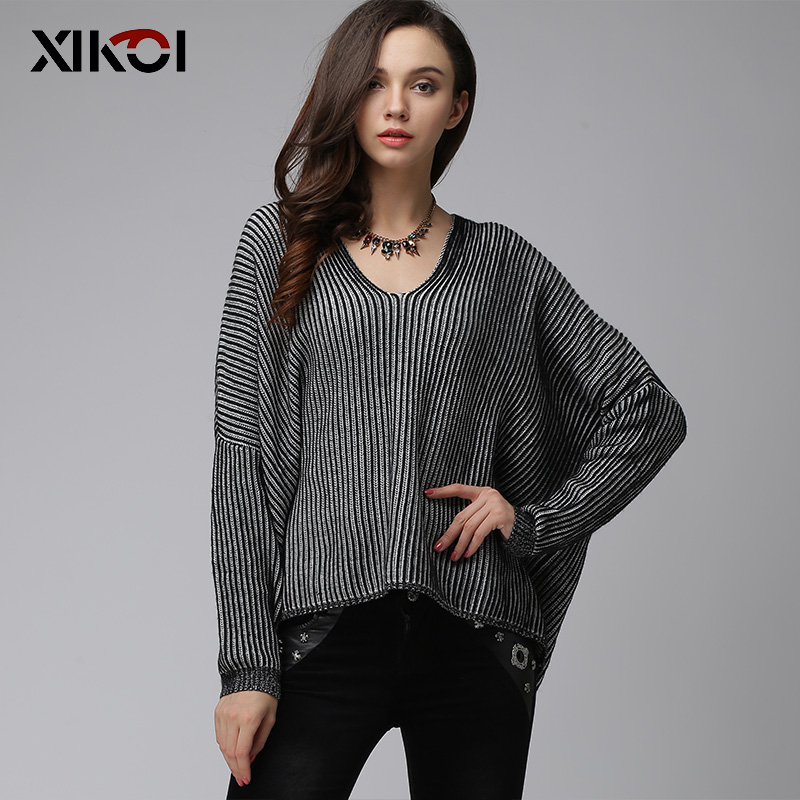 XIKOI Casual Women Sweater V-Neck Long Sleeve Striped Women's Sweaters Clothes Pullovers Fashion Black Pullover Clothing Tops