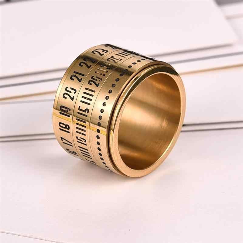Jiayiqi Спиннер из нержавеющей стали кольцо с датой времени календарь Вращающийся 3 части кольца для мужчин и женщин ювелирные изделия панк золото серебро черный