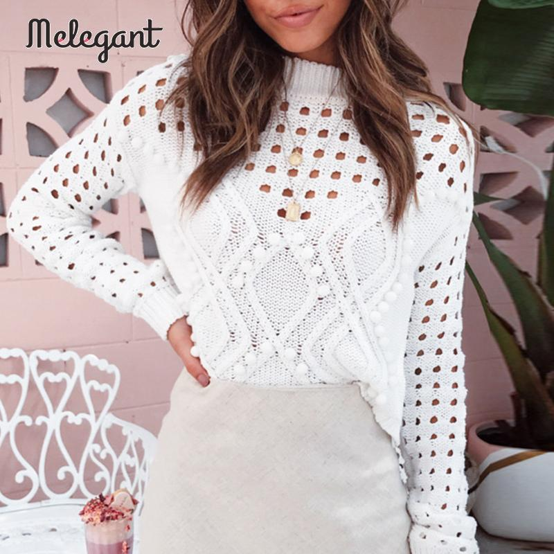 Melegant Autumn Winter 2019 Women Sweaters Sexy Hollow Out Ball Decoration Knitwear Sweater Jumpers Female Plus Size Pullovers