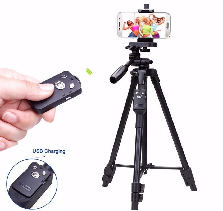 Yunteng 5208 Bluetooth Remote Tripod Holder for iPhone Cell Phone Mobile Smartphone Samsung Galaxy Phone iPad Tablet PC with Bag okade skull pattern neoprene protective sleeve bag for 7 cell phone tablet pc white black