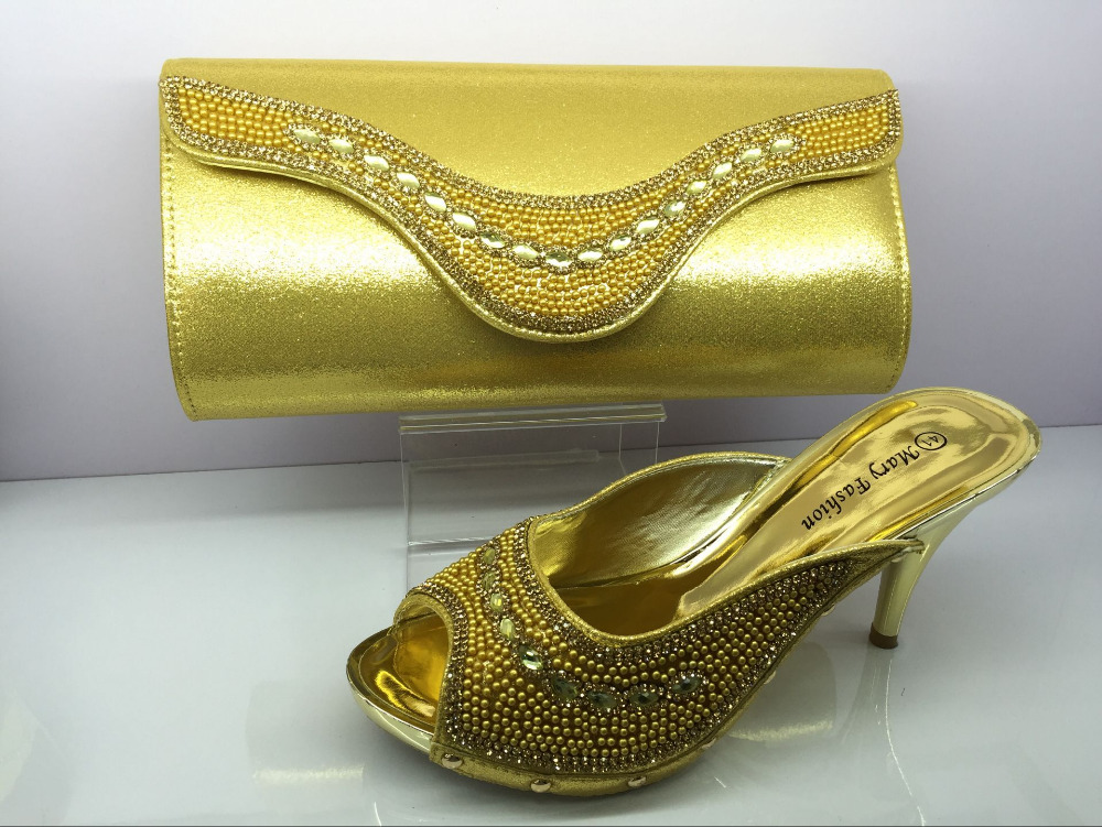 Luxury shoes and bag set for women summer african style shoes and bag