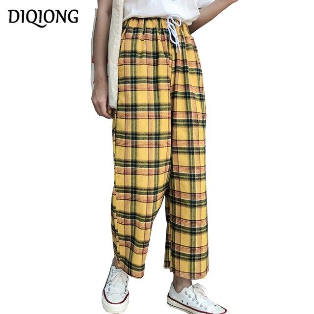 Diqiong 2018 новый летний Высокая талия брюки желтый плед моды прилив свободные большой Размеры хлопок Для женщин Повседневное весенние широкие брюки ноги