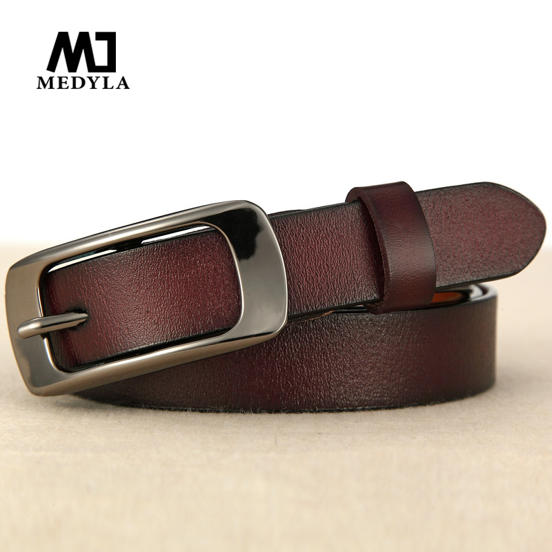 MEDYLA new fashion leather female   belt   New Arrival Buckle Thin Section   Belt   Women's Genuine Leather Strap Female Cummerbund