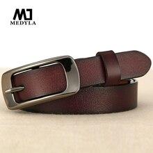 MEDYLA new fashion leather female belt New Arrival Buckle Thin Section Belt Women's Genuine Leather Strap Female Cummerbund