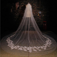 Real Picture 3 5m 5m 7m Length 3m Width Custom Made White Ivory Long Wedding Veil