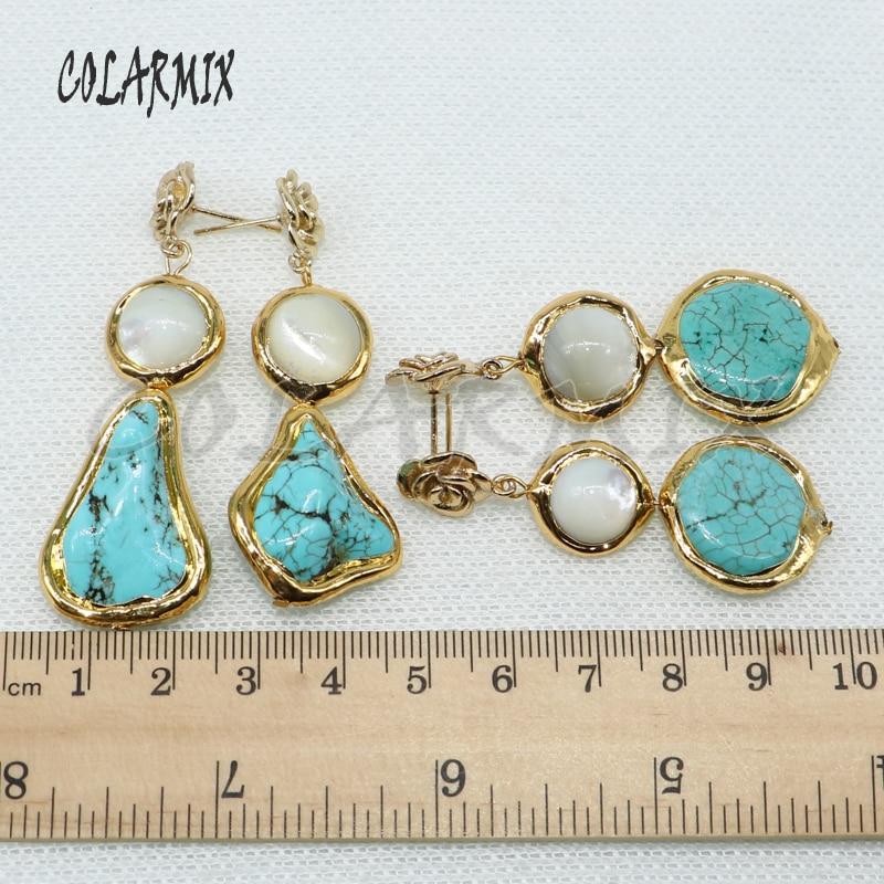 Wholesale Blue Stone Link Pearls Long Stone Earrings Irregular Stone Earrings Fashion Stone  Jewelry Earrings Gift For Lady 4969