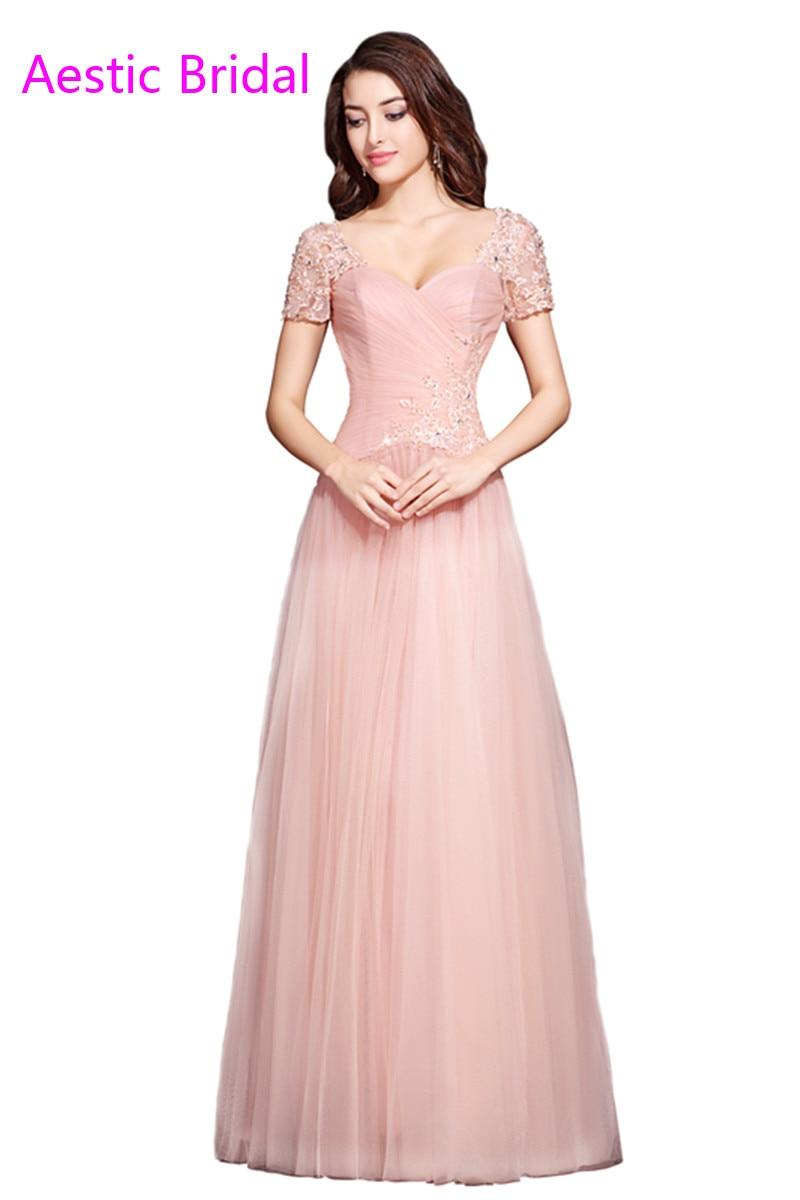 Vestido Festa Elegante Pastel Rosa de Tul Vestido de Noche Con ...