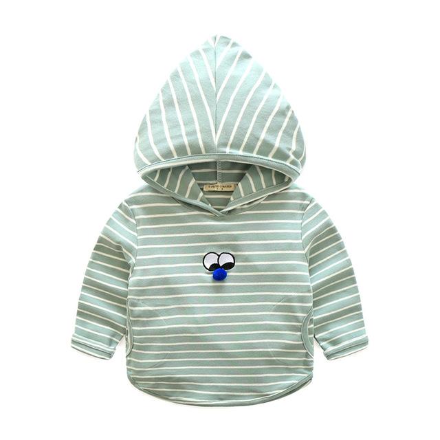 Casaco com capuz Para O Menino Listrado de Algodão Roupa Dos Miúdos Primavera Outono Meninos Hoodies Com Olhos de Criança de Manga Comprida Tee 2-6 Y Crianças clothing