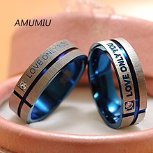 """AMUMIU Fashion Jewelry 316L Stainless Steel Simple Circle """"Love Only You"""" Couple Rings,Wedding Ring,Engagement Rings HZR007E"""