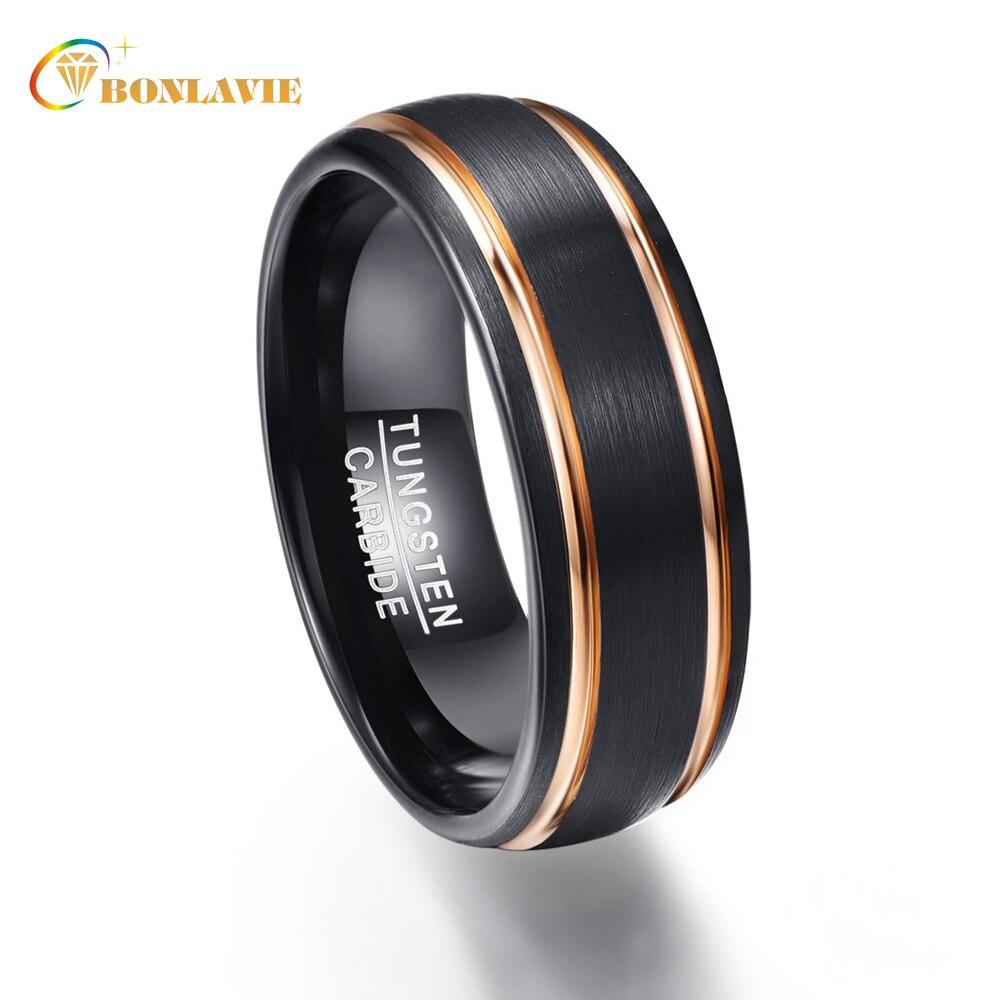Party Ring Exquisite Rose Gold Seite Männer Ringe Echt Wolfram Hartmetall Hochzeit Bands Anillos para hombres Männlichen Ring