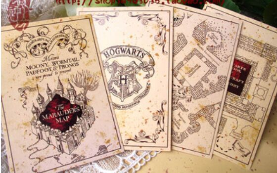 Harry Potter Postcardmarauders Map Postcard4pcs A Set W Harry